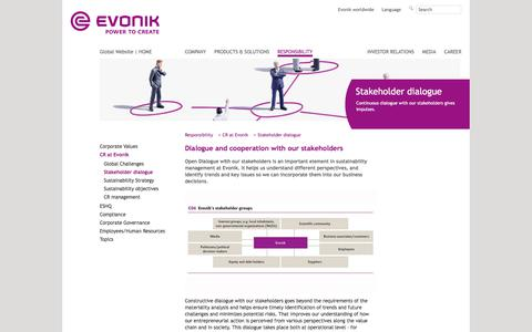 Corporate Responsibility - Stakeholder - Evonik Industries - Specialty Chemicals