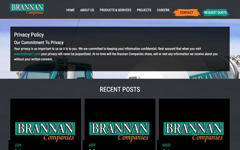 Screenshot of Privacy Page brannan1.com - Privacy Policy | Brannan Sand and Gravel | Denver Paving Ready Mix and Pipeline - captured Oct. 6, 2018