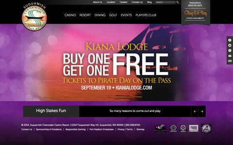 Screenshot of Home Page clearwatercasino.com - Suquamish Clearwater Casino Resort | - captured Sept. 18, 2014