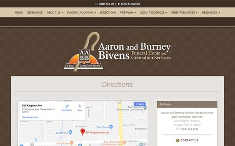 Screenshot of Maps & Directions Page bivensfuneralhome.com - Aaron and Burney Bivens Funeral Home and Cremation Services | Orange Park FL funeral home and cremation - captured Oct. 2, 2018