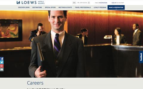 Screenshot of Jobs Page loewshotels.com - Loews Hotels Careers | Loews Luxury Hotel and Resorts - captured Nov. 10, 2015