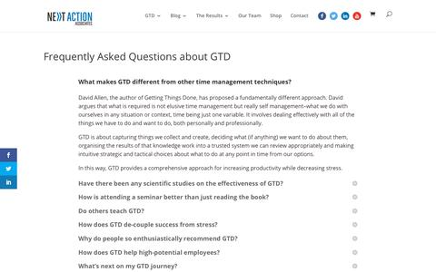 Screenshot of FAQ Page next-action.eu - Frequently Asked Questions about GTD - Next Action Associates - captured Oct. 20, 2018