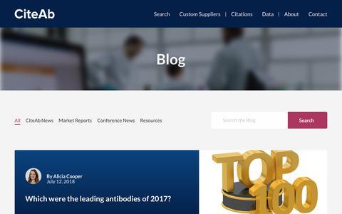 Screenshot of Blog citeab.com - CiteAb Blog - captured July 18, 2018