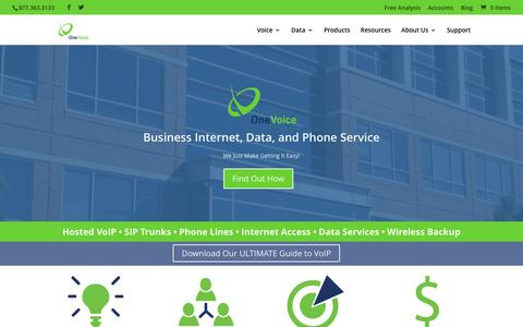 Screenshot of Home Page onevoiceinc.com - OneVoice Communications, Inc | VoIP Provider | Voice Data for Business - captured Feb. 14, 2016