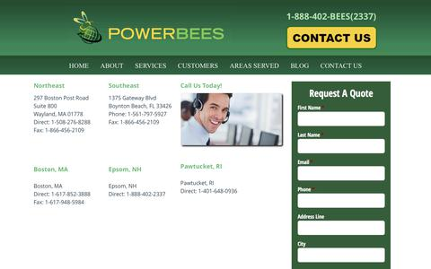 Screenshot of Contact Page powerbees.com - Contact us- PowerBees - captured Aug. 13, 2017