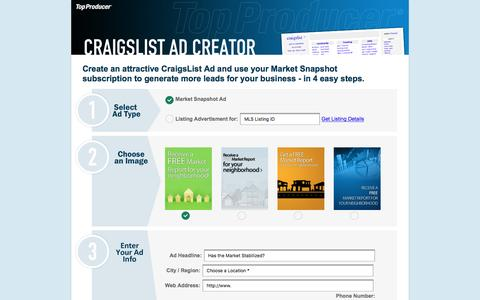 Screenshot of Landing Page topproducer.com - Top Producer's Craigslist Ad Creator - captured July 29, 2016