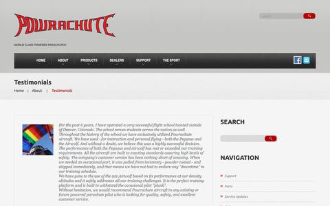 Screenshot of Testimonials Page powrachute.com - Testimonials  |  Powrachute - captured Oct. 18, 2018