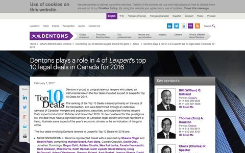 Screenshot of dentons.com - Dentons - Dentons plays a role in 4 of Lexpert's top 10 legal deals in Canada for 2016 - captured Feb. 15, 2017