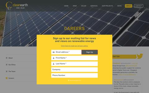 Screenshot of Jobs Page cleanearthenergy.com - Renewable Energy Careers with Cleanearth Energy - captured Nov. 20, 2018