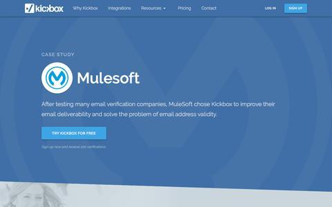 Screenshot of Case Studies Page kickbox.com - Mulesoft Email Verification Case Study | Kickbox - captured June 27, 2019