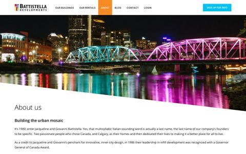 Screenshot of About Page battistella.ca - About Our Team | Battistella Developments | (403) 264-2992 - captured Oct. 5, 2018