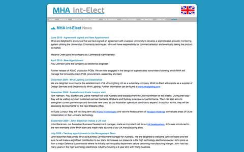 Screenshot of Press Page mhaintelect.com - MHA Int-Elect: News - captured Sept. 30, 2014