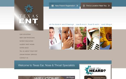 Screenshot of Home Page Privacy Page texasent.com - Texas ENT Specialists - captured Oct. 6, 2014