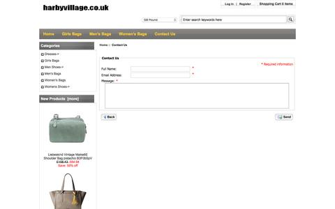 Screenshot of Contact Page harbyvillage.co.uk - Contact Us : Quality Primacy Calvin Klein, Shrink-proof Lole, Durable Nicole Miller - captured April 10, 2017