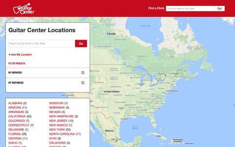Screenshot of Locations Page guitarcenter.com - Guitar Center Store Locations - captured Dec. 9, 2016