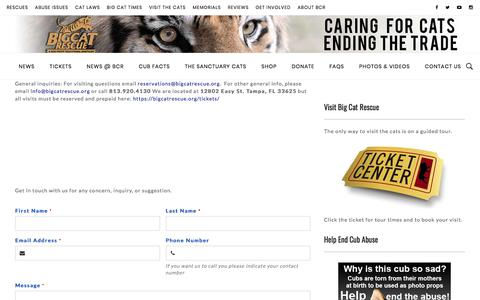 Screenshot of Contact Page bigcatrescue.org - Contact Us   Big Cat Rescue - captured Nov. 15, 2019