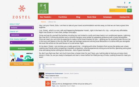 Screenshot of About Page zostel.com - About Us: Zostel:The first branded Backpacker Hostel chain in India - captured Sept. 17, 2014