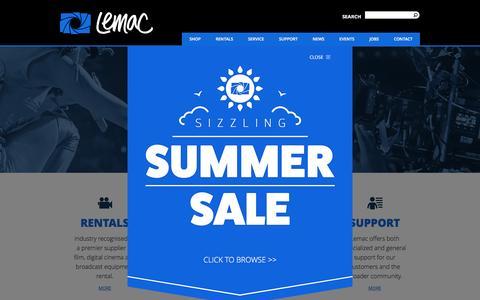 Screenshot of Home Page lemac.com.au - Lemac Film and Digital - Rentals / Sales / Service / Support - captured Jan. 28, 2016