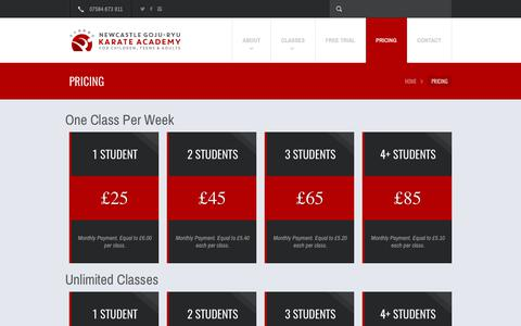 Screenshot of Pricing Page karate-newcastle.co.uk - PRICING | Newcastle Goju-Ryu Karate Academy - captured Oct. 25, 2017