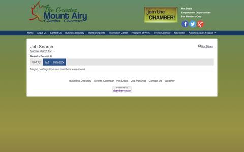 Screenshot of Jobs Page mtairyncchamber.org - Job Search - Mount Airy NC Business Directory, North Carolina Chamber of Commerce Tourism - captured June 20, 2016