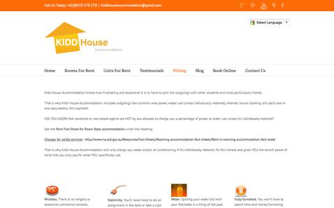 Screenshot of Pricing Page kiddhouseaccommodation.com.au - kiddhouse.com.au Pricing - kiddhouse.com.au - captured Oct. 6, 2014