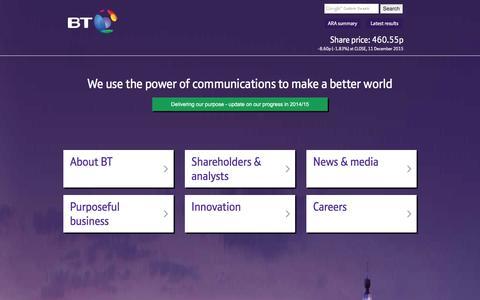Screenshot of Home Page btplc.com - BT Plc - captured Dec. 11, 2015