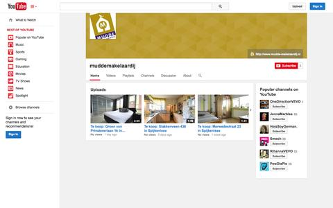 Screenshot of YouTube Page youtube.com - muddemakelaardij  - YouTube - captured Oct. 26, 2014
