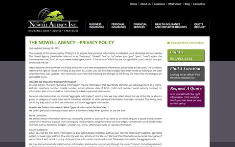 Screenshot of Privacy Page nowellagency.com - Privacy Policy: The Nowell Agency - captured Oct. 23, 2017