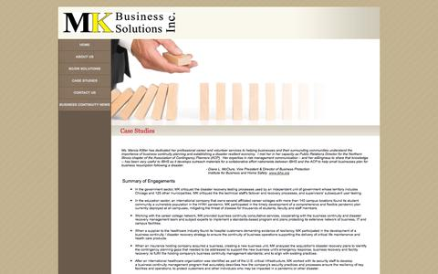 Screenshot of Case Studies Page mkbusinesssolutions.com - Business Continuity | Disaster Recovery | Case Studies - captured Oct. 3, 2014