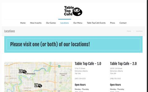Screenshot of Locations Page tabletopcafe.ca - Locations | Table Top Cafe - captured Jan. 30, 2017