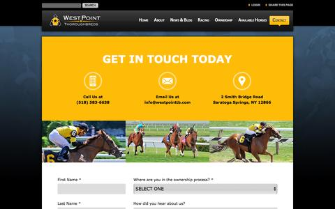 Screenshot of Contact Page westpointtb.com - Contact Us   West Point Thoroughbreds - captured Sept. 27, 2016