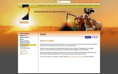 Screenshot of Press Page agforceqld.org.au - AgForce Queensland - Advancing Rural Queensland  - Media - captured Feb. 5, 2016