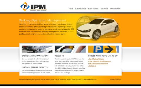 Screenshot of Home Page ipmseattle.com - International Parking Management - captured Oct. 6, 2014