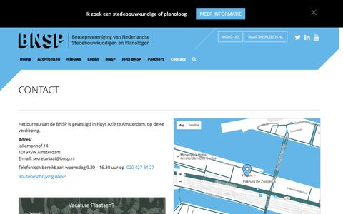 Screenshot of Contact Page bnsp.nl - Contact - captured July 27, 2016