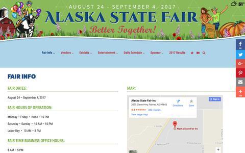 Screenshot of Hours Page alaskastatefair.org - Fair Info | Alaska State Fair - captured Oct. 7, 2017