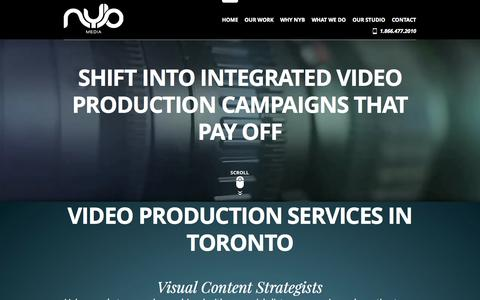 Screenshot of Home Page nybmedia.net - NYB Media | Video Production Services In Toronto - captured Sept. 30, 2014