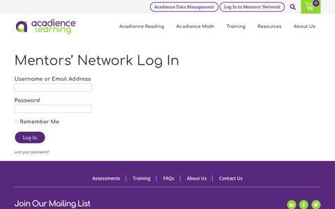 Screenshot of Login Page acadiencelearning.org - Mentors' Network Log In | Acadience Learning - captured Feb. 15, 2020