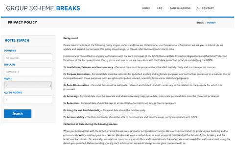Screenshot of Privacy Page groupschemebreaks.com - Ireland Hotel Deals| Groupscheme Breaks Privacy Policy - captured Oct. 21, 2018