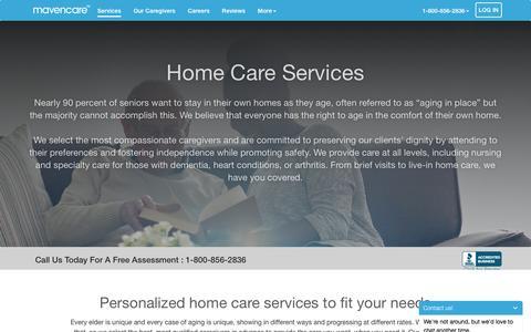 Screenshot of Services Page mavencare.com - Home Care Services   Mavencare Senior Care - captured March 14, 2016
