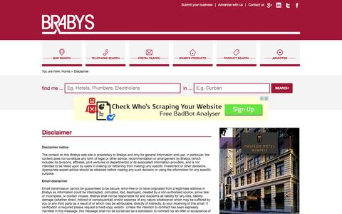Screenshot of Terms Page brabys.com - Disclaimer - captured Jan. 13, 2016