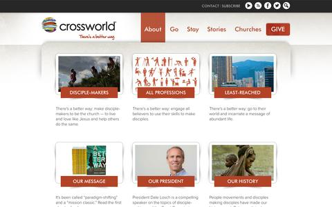 Screenshot of About Page crossworld.org - Crossworld | Disciple-makers from all professions  | Crossworld - captured Sept. 30, 2014
