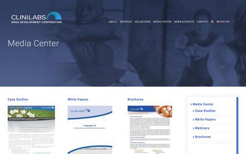 Screenshot of Press Page clinilabs.com - Media Center - Clinilabs, Inc. - captured July 19, 2018
