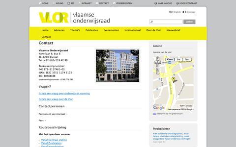 Screenshot of Contact Page vlor.be - Contact | Vlaamse Onderwijsraad - captured Oct. 26, 2014