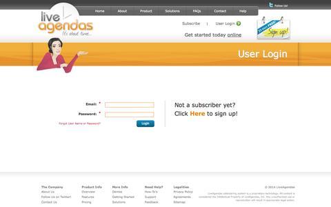 Screenshot of Signup Page Login Page liveagendas.com - User Login - captured Oct. 23, 2014