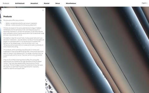 Screenshot of Products Page flexac.com - Products | Flex Acoustics - captured Oct. 6, 2014
