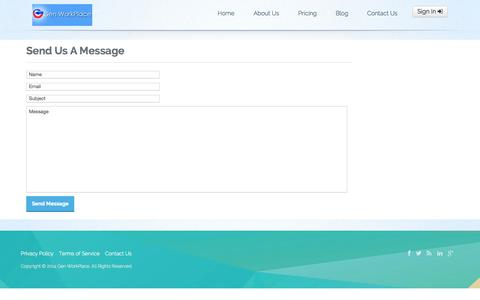 Screenshot of Contact Page Pricing Page genworkplace.com - Contact Us - captured Oct. 22, 2014