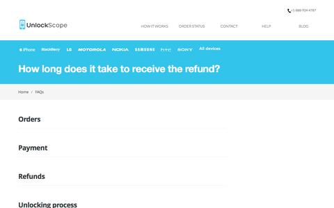 Screenshot of FAQ Page unlockscope.com - How long does it take to receive the refund? - UnlockScope KnowledgebaseUnlockScope Knowledgebase - captured Feb. 16, 2016