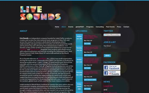 Screenshot of About Page livesounds.org - About | Livesounds - captured Sept. 30, 2014