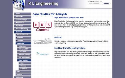 Screenshot of Case Studies Page xkeys.com - Case Studies - captured Sept. 22, 2014