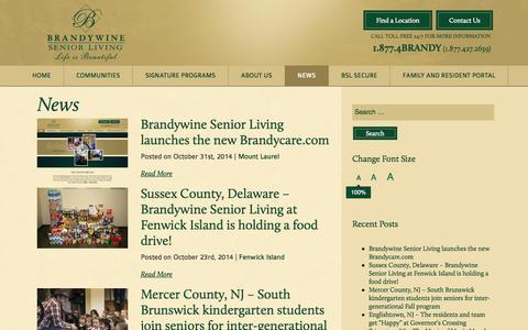 Screenshot of Press Page brandycare.com - Brandywine in the News | Brandywine Senior Living | NJ, PA - captured Nov. 3, 2014